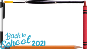 16:9 Back to School Photo Frame With Pen and Pencil