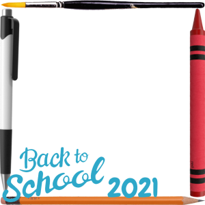 Square Back to School Photo Frame With Pen and Pencil