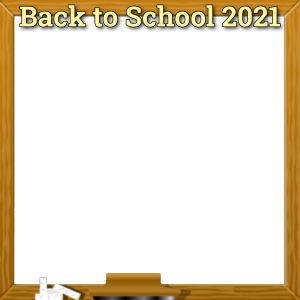 Square Back to School Photo Frame with Chalkboard Border