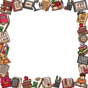 Square Back to School Photo Frame With School Supplies Border