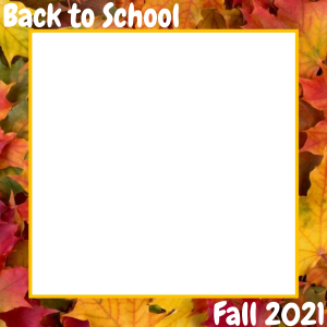 Square Back to School Photo Frame With Leaves Border