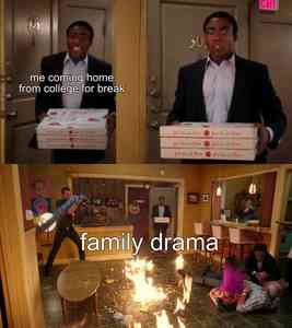 Community Troy Enters Burning Room With Pizza Meme Template