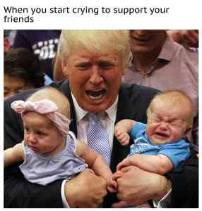 Trump Holds Crying Babies Meme Maker