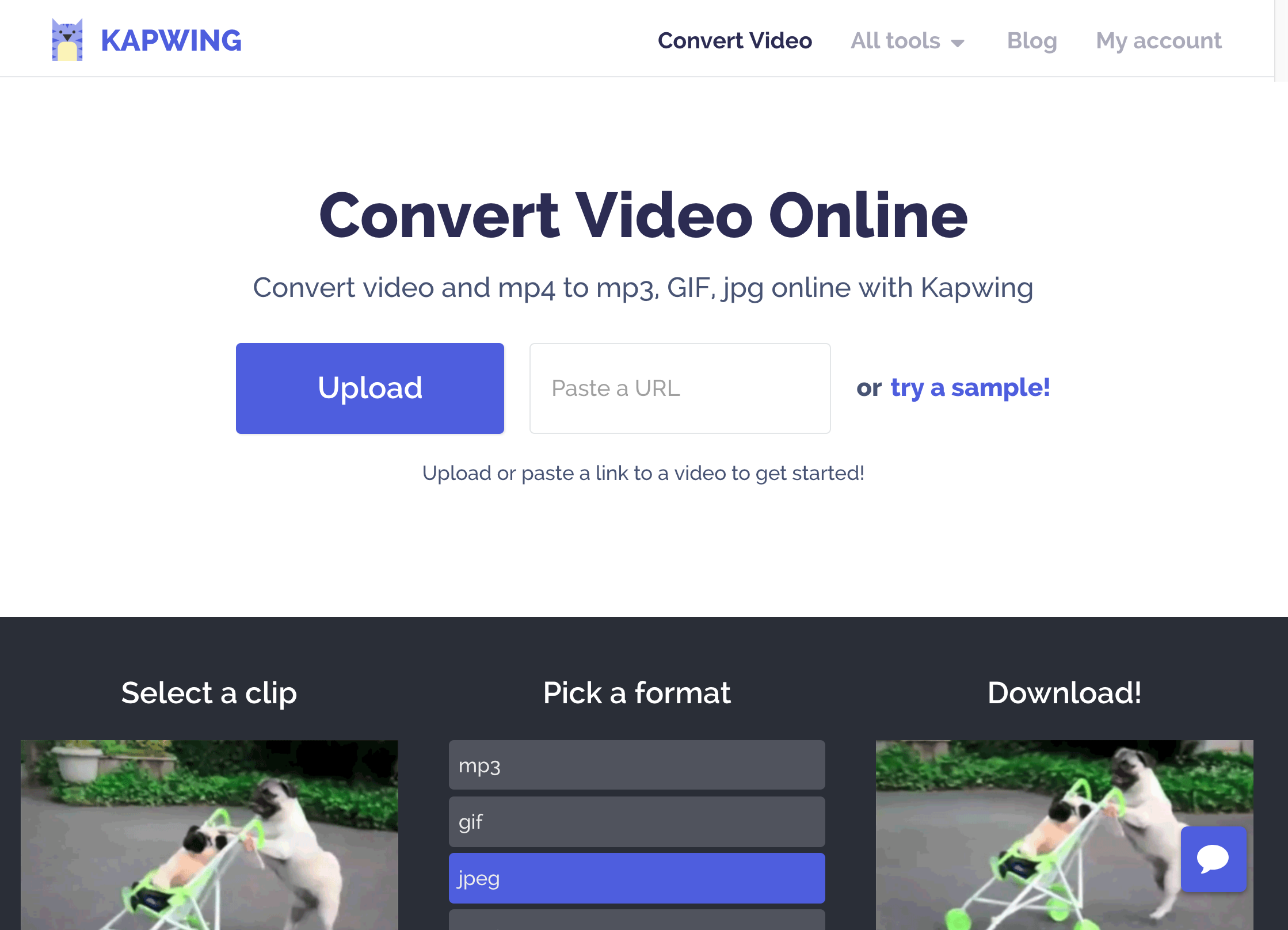 A screenshot of the Kapwing Convert Video homepage.