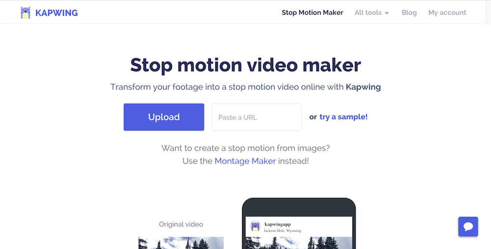 The stop motion maker from Kapwing