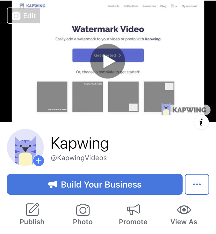 Screenshot of a Cover Video on a business page