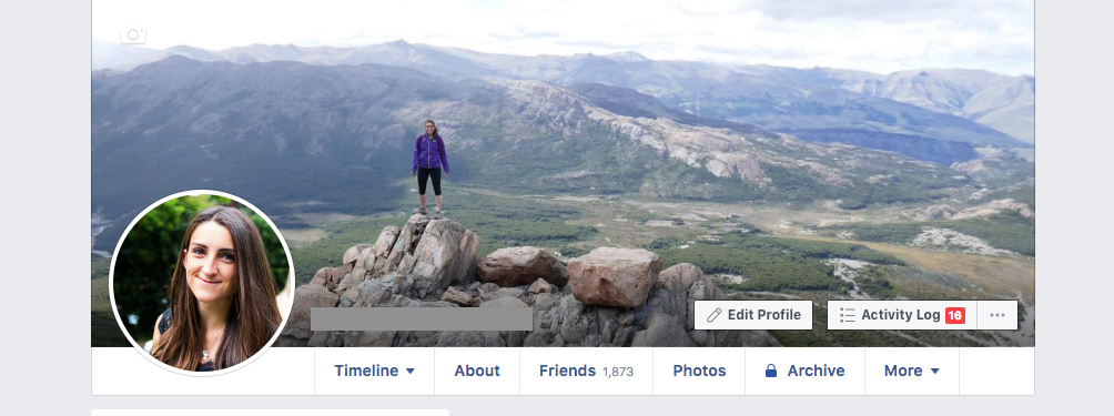 A screenshot of a Facebook profile, showing the cover photo.