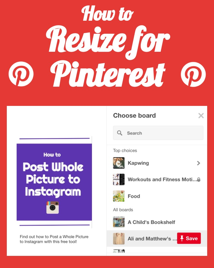 How to resize videos images and GIFs for pinterest