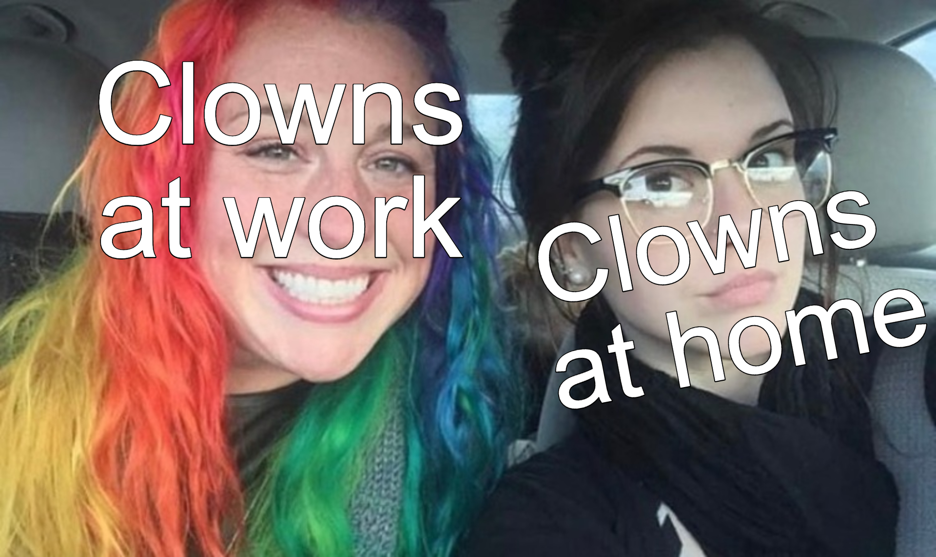My Sister And I Are Polar Opposites Rainbow and Black Hair Meme Template